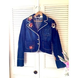Urban Outfitters | Embroidered Crop Denim Jacket